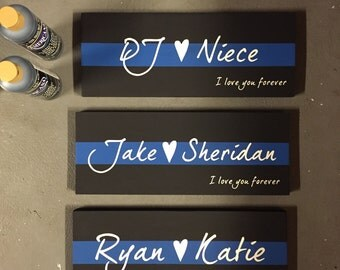 thin blue line love sign, wooden sign, home decor, cop gift, police gift, police home decor