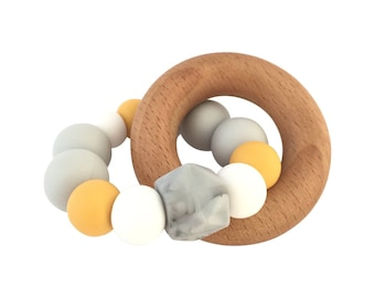 MUSTARD + MARBLE Silicone + Beech | Baby Teether | Teething Toy | Baby Gift