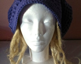 large blue crochet dreadlock tam hat