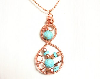 Copper and turquoise infinity pendant with chain, wire wrapped copper frame turquoise necklace,Industrial jewellery, UK seller