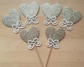 Gold heart cupcake toppers, heart cupcake toppers, wedding cupcake toppers, anniversary cupcake toppers, luxury cupcake toppers