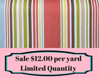 FABRIC SALE!!!   Coral - Green - Stripe - Upholstery Fabric  by the Yard