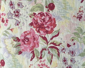 Floral - Pink - Rose - yellow - Green - Upholstery Fabric by the Yard