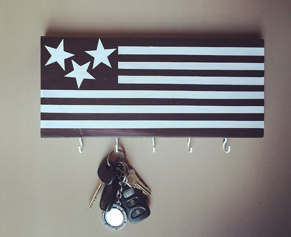 American Flag Hand Painted Wooden Wall Key Chain Holder
