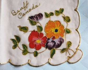 Beautiful HAND PAINTED 1930s Hanky Handkerchief Souvenir Banff Canada Hankie