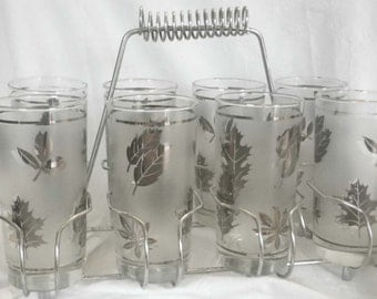Vintage Libby Foliage Frosted Silver Leaf Set of 8 Highball Glasses, Caddy AND 6 BONUS Glasses