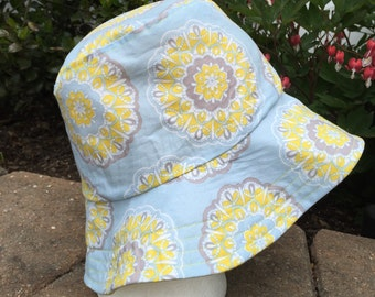Light Blue Yellow and Gray Flower Women's Hat Reversible Bucket hat. Bucket hat. Beach Hat. Sun Hat.