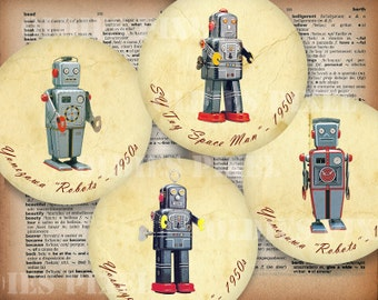 4 Sci Fi Robots Collection Digital Collage Sheet 4 inch & 3 inch Circle images Instant Download Great for Cup Coaster Glass Pads TC83