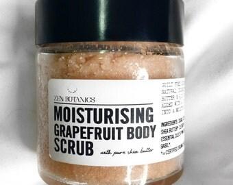Moisturising body scrub with Shea Butter, Pink Grapefruit, Geranium & Basil