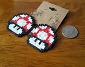 Perler Mario Inspired Earrings// Mushroom//Earrings//Mario//