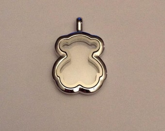 Bear floating locket, comes with silver plated chain