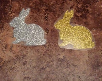 Glitter Iron on decal 3x2.5 inches-silver, or gold