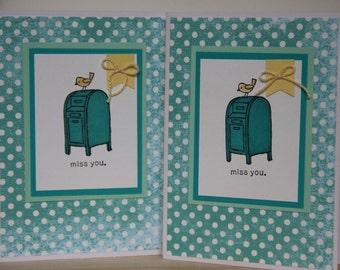 I Miss You Card.  Handmade Greeting Card.  Mailbox Card.  Blank I Miss You Card.  Yellow Bird Card