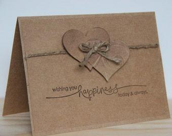 Hearts Wedding Card.  Rustic Wedding Card. Handmade Kraft Wedding Card.  Primitive Wedding Card.  Wishing you happiness today & always.