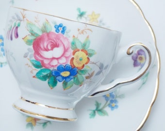 "Tuscan ""Bouquet"" Floral Bunch Flowers Vintage Fine Bone China Demitasse Cup and Saucer Made in England"