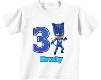 PJ Masks Cat Boy Custom Birthday t-shirt (Different Colors)