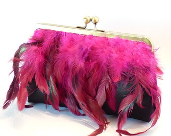 Feather Clutch bag, Black Silk Satin purse with pink feather trim perfect accessory for prom, rock. punk or burlesque wedding, glamourous,