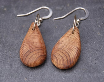 Sterling silver and Yew Wood Earrings
