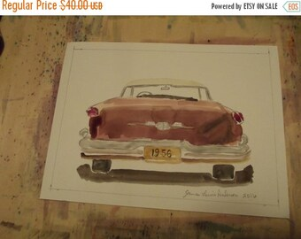 25% Off Entire Store 1956 Oldsmobile Ninety Eight ,  vintage, automobile, watercolor