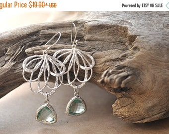 Fall Sale Mint Green Glass Floral Silver Chandelier Earring, Mint Green bridesmaid earrings.bridesmaids jewelry. Wedding jewelry. Bridal ear