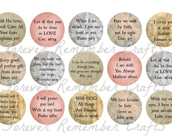 INSTANT DOWNLOAD Bible Verse Bottle Cap Image Sheets *Digital Image* 4x6 Sheet With 15 Images