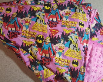 Female Superhero Minky Blanket /  Handmade Baby Toddler Girl Shower Gift // Wonder Woman // Batgirl // Super Girl / Femme Power / Pink