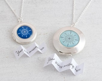 Compass Necklace Locket, Custom Locket, Wanderlust Necklace, Compass Pendant, Silver Locket, Graduation Gift, Message Locket, Travel Jewelry