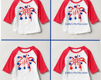 Baby July 4th Monogrammed Little Firecracker Fireworks White/Red 3/4 sleeve Raglan - Celebrate Independence Day - Your initials and PHRASE