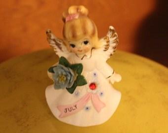 Vintage July Birthday Porcelain  Angel Figurine