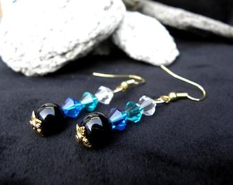 golden earrings with gemstones: Black Onyx and Swarovski crystal beads