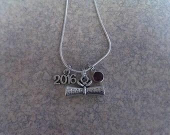 Handmade Class of 2016 Graduation Charm Necklace