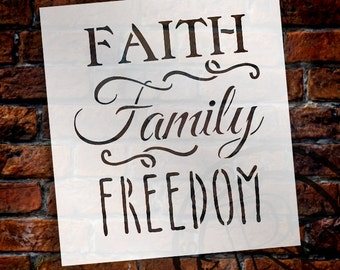 Faith, Family, Freedom - Word Stencil - Select Size - STCL1234 by StudioR12