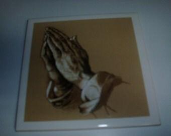 Vintage Screen Craft praying hands decorative tile