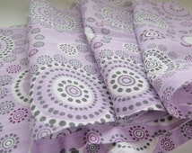 Set of 2 Cotton Long Curtain Panels, Fabric, each: 229 x 40 cm / 90,1'' x 15,7'' Light Purple Circles Cotton Fabric #2-20