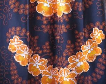Set of 2 Vintage Long Curtains, each: L 219.5 x W 121 cm / L 84,2'' x W 57,4'' Brown Orange Floral Curtains, Scandinavian Design #2-17