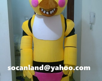 FNAF Toy Chica Cosplay,FNAF Chica Mascot Costume,Toy Chica Costumes Clothing,Chica Adults,Toy Chica Halloween,Toy Chica Christmas Costumes