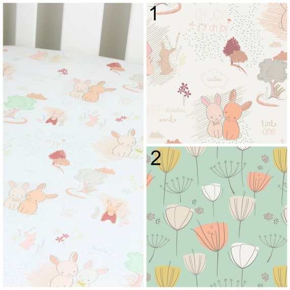 Peach and Mint Bunny Floral Cotton Crib Sheet or Changing Pad Cover Baby Crib Light Coral & Mint Crib Sheet Contoured Crib Sheet Girl Baby