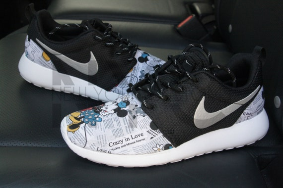 d00b27405644 chic Nike Roshe Run Black White Mickey   Minnie Newspaper by NYCustoms