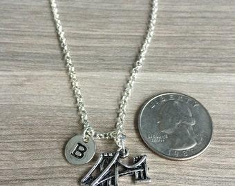 KIDS SIZE - Brooklyn bridge initial necklace, Brooklyn jewelry, New York necklace, NYC necklace, bridge necklace, silver Brooklyn bridge