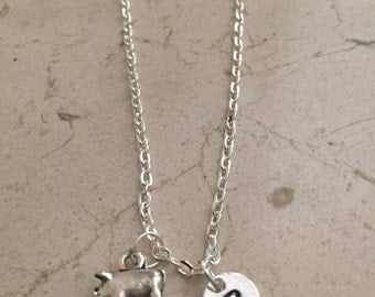 Pig initial necklace - pig jewelry, farm necklace, farm animal jewelry, FFA jewelry, animal jewelry, 4H necklace, silver pig necklace