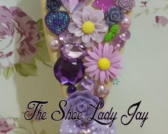 Rapunzel purple theme wooden hair brush bling decoden flowers gems Tangled