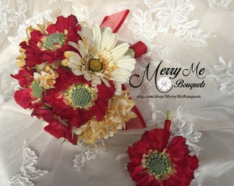 Red and Yellow Bouquet - Pale Yellow and Red Bouquet - Rustic Bouquet - Rustic Red and Yellow Bouquet - Rustic Yellow and Red Bouquet