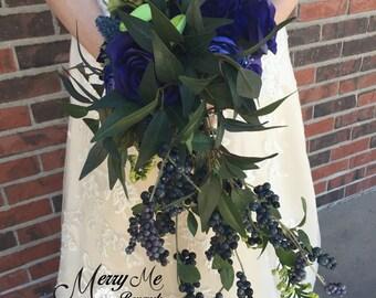 Blue Bouquet - Blue and Green Bouquet - Blue Cascade Bouquet - Eucalyptus Bouquet - Green and Blue Bouquet - Woodland Bouquet