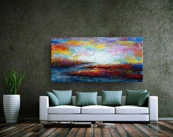Original Painting, Oil Painting, Abstract Landscape Painting, Canvas Art,  Abstract Art, Impasto Painting, Abstract Wall Art, Large Art
