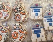 12 BB8 &/ or R2D2 inspired vanilla sugar cookies - star wars birthday party - star wars the force awakens party - robot -droid -party favor