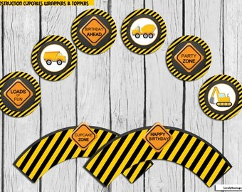 Construction Cupcake Toppers and wrappers , Construction Circles, ConstructionParty Printable, Dump Trucl Decoration DIY, Instant Download