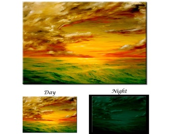 Glow in the Dark Canvas Wall Art - Sunset Ocean Wave Coast - Ready to Hang