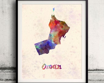 Oman - Map in watercolor - Fine Art Print Glicee Poster Decor Home Gift Illustration Wall Art Countries Colorful - SKU 2000