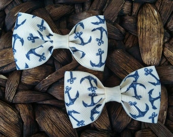 Anchor Hair Bow / Anchor Bow / Nautical Bow / Nautical Hair Bow / Trendy Girl Hair Bow / Navy And Tan Anchor Hair Bow / Set Of 2 Pigtail Bow