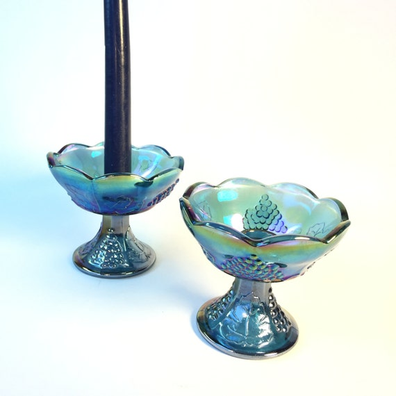 Taper candle holders blue carnival glass vintage home decor Home decor candlesticks
